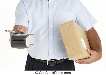 Courier Holding A Parcel And An Electronic Clipboard - ...