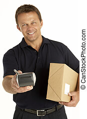 Courier Holding A Parcel And Electronic Clipboard