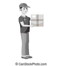 Courier icon, gray monochrome style