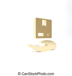 courier., illustration, isolé, boîtes, icône, or, main, ...