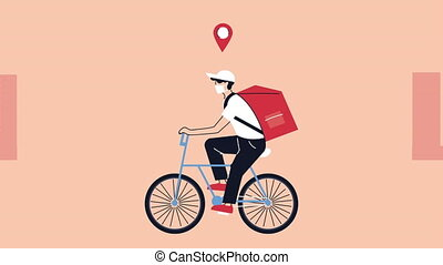 courier in bicycle delivery service animation ,4k video ...