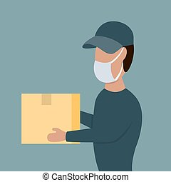 Courier in face mask with a box in his hands