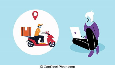 courier in motorcycle and woman using laptop delivery ...