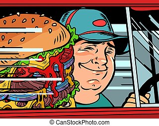 courier in the car with a burger
