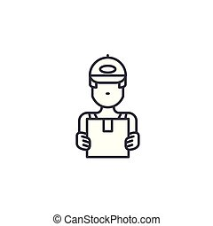 Courier linear icon concept. Courier line vector sign, symbol, illustration.