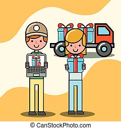 courier man and customer girl gift truck logistic and delivery