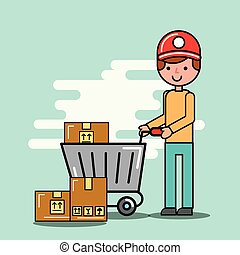 courier man and shopping cart with boxes logistic and delivery