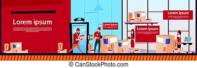 Courier Man And Woman Carry Boxes Delivery Package Post Service Warehouse Interior Banner Copy Space