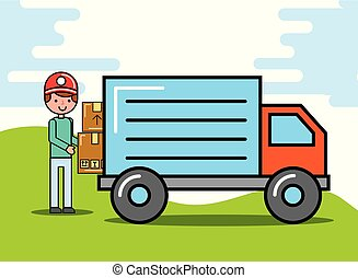 courier man carrying boxes truck logistic and delivery
