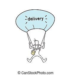 Courier Man Flying On Parachute Hold Box Delivery Service Doodle