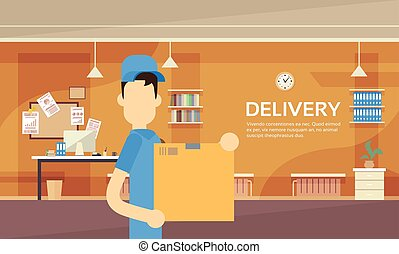 Courier Man Hold Box Delivery Package Post Service Warehouse Interior
