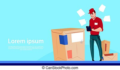 Courier Man Use Tablet Box Delivery Package Post Service Banner Copy Space