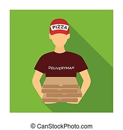 Courier on the delivery of pizza. Logistics and delivery single icon in flat style isometric vector symbol stock illustration web.
