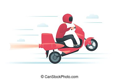 Courier on the red motorbike with jet engine