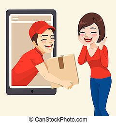 Courier Online Delivery Concept - Happy smiling courier...