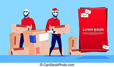 Courier Robots Carry Box Delivery Package Post Service Banner Copy Space