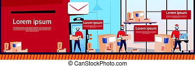 Courier Robots Carry Boxes Delivery Package Post Service Warehouse Interior Banner Copy Space