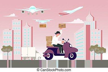 courier, scooter, karakter