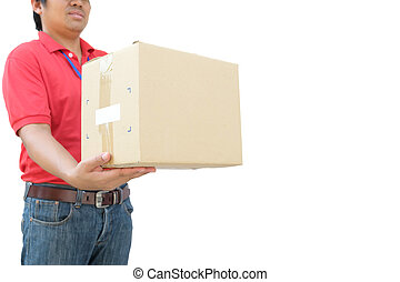 Delivery man in red uniform handing parcel box to recipient