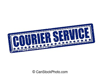 Rubber stamp with text courier service inside, vector illustration