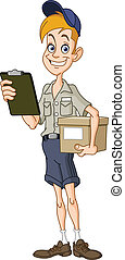 Smiling delivery man with a parcel and a clipboard