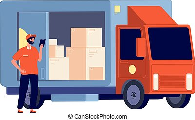 Courier. Smiling guy with package, delivery lorry. Logistic service, man and boxes. Postman with parcel. Shipping worker vector illustration
