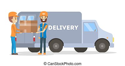 Courier standing with a box at the delivery car