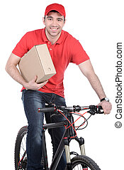 Courier - Mail man on a bicycle bringing mail isolated on...