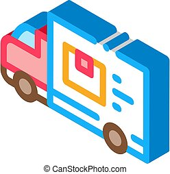 Courier Truck isometric icon vector illustration