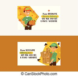 Courier vector business card postman man character of delivery service delivering parcel box package flower illustration backdrop deliveryman person transporting set of business-card background