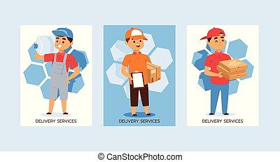 Courier vector postman man character of delivery service delivering parcel box package pizza illustration backdrop set of deliveryman person transporting bottle background