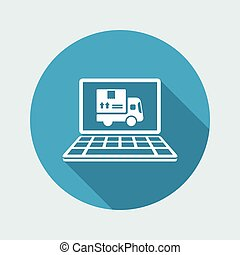 Courier website button - Vector flat icon