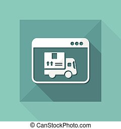 Courier website button - Vector flat icon