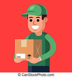 courier with a parcel in his hands. cargo delivery.