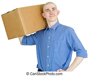 Courier with cardboard box - Man with cardboard box on the ...