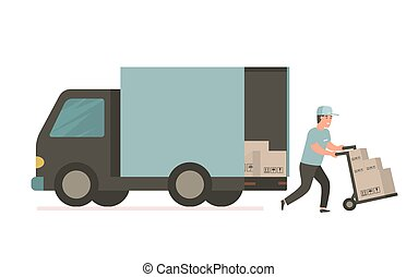 Courier with cardboard box. Vector delivery truck