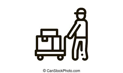 Courier with Trolley on Wheels Icon Animation. black Courier with Trolley on Wheels animated icon on white background