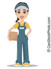Courier woman holding carton box. Professional fast delivery.