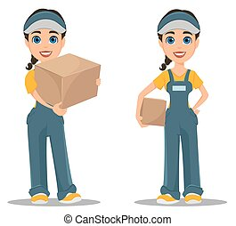 Courier woman holding carton box. Set. Professional fast delivery.