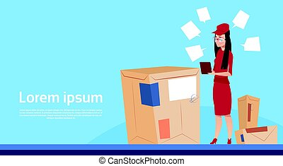 Courier Woman Use Tablet Box Delivery Package Post Service Banner Copy Space