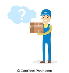 Courier working in delivery service holding package