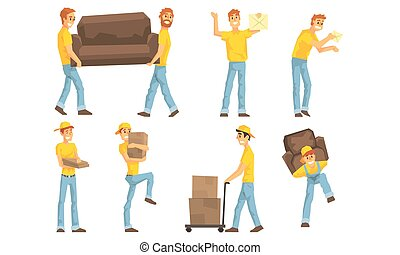 Couriers Carrying Parcels, Cardboard Boxes and Furniture, ...
