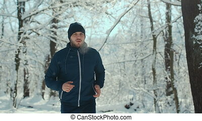 courir long, route, homme