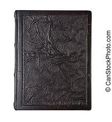 couro, antigas, amarrotado, livro, textura