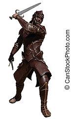 couro, armadura, espadas, dois, swordsman