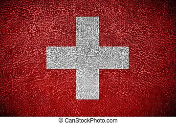 couro, bandeira suiça, fundo, textura