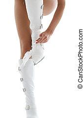 couro, branca, panties, botas