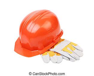 couro, chapéu duro, vermelho, gloves.