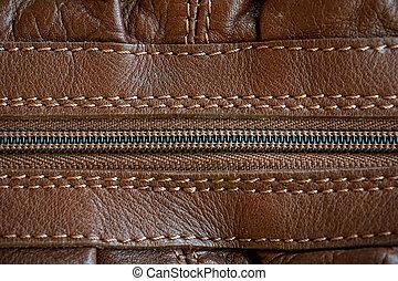 couro, (close, zipper, textura, cima)