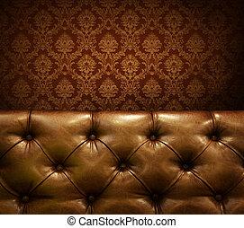 couro, copyspace., genuíno, luxo, mobília